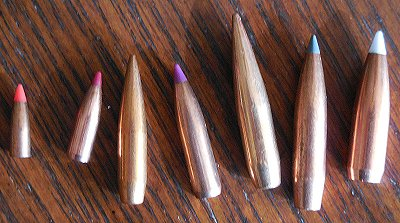 Boattail rifle bullets.