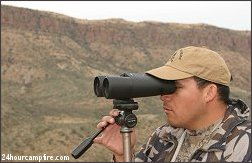 Outfitter Enrique Ramirez in the Coues deer country around Tucson using the new Minox 15x58 ED on a Velbon tripod.
