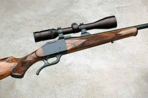 Best-quality J. regia walnut, as on this Miller/Dakota rifle, is now very costly, and becoming scarcer.