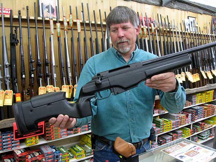 A modern .338 Lapua Magnum at the Capital Sports gun counter.