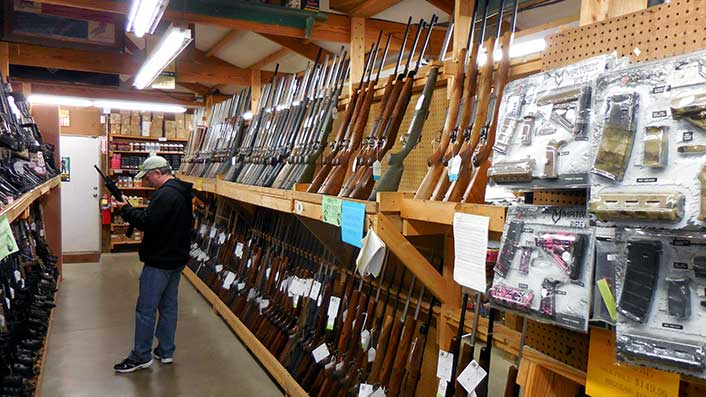 Just one of the many long-gun aisles at Whittaker Guns.