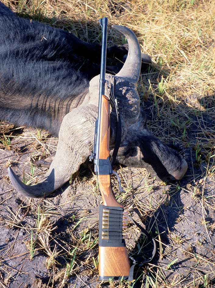 "Cape buffalo can be killed with single-shot rifles, though it requires putting the single bullet in the right place. Luckily, buffalo have large ""vital areas,"" and are mostly shot at less than 100 yards."